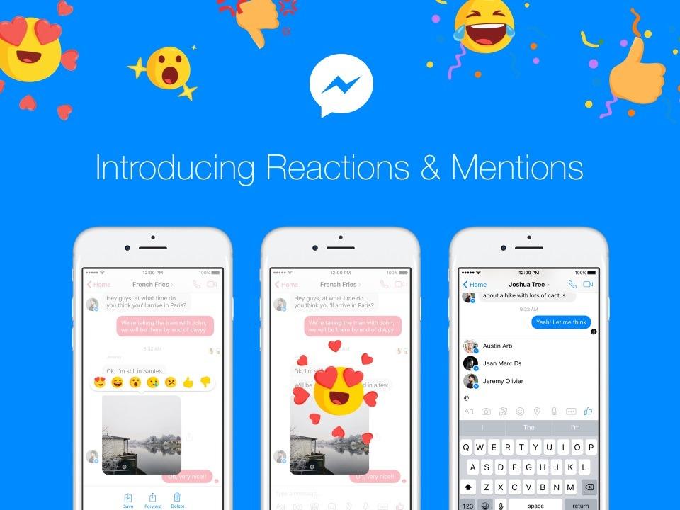menciones y reacciones llegan a Messenger