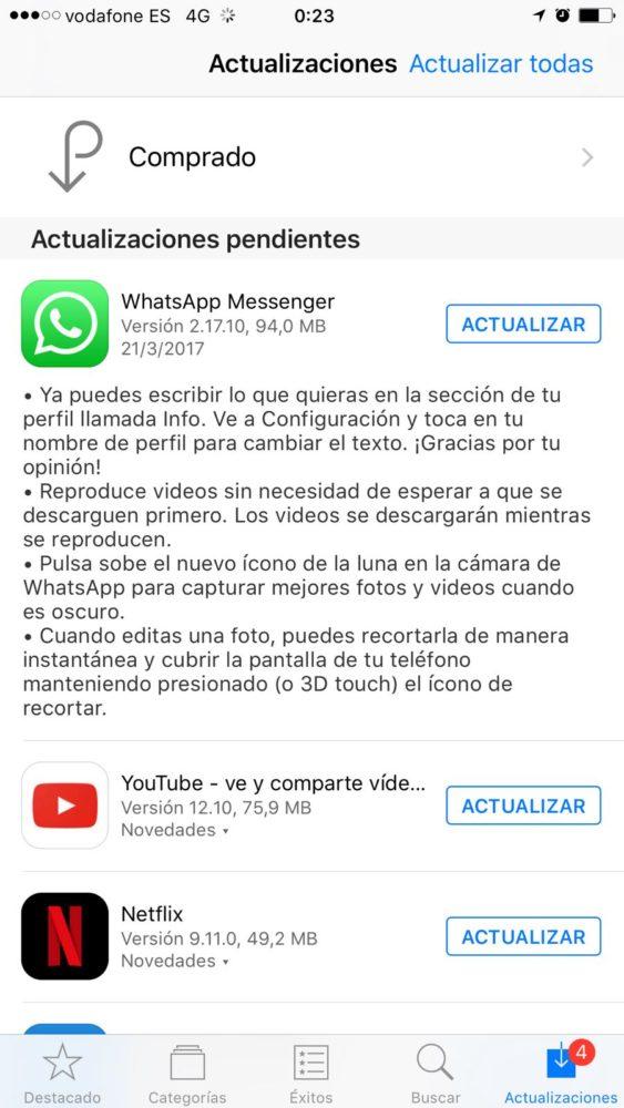Novedades WhatsApp 2.17.10 para iPhone