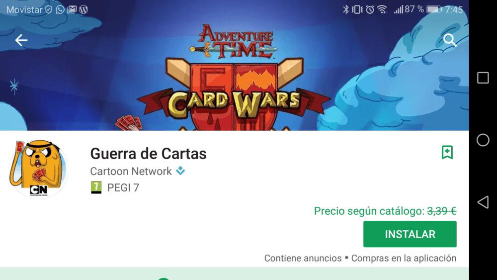 Guerra de cartas - Aplicación gratis de la semana
