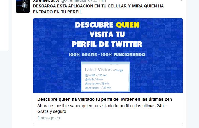 "Mira quien ha entrado a tu perfil"", el engaño que circula en Twitter"