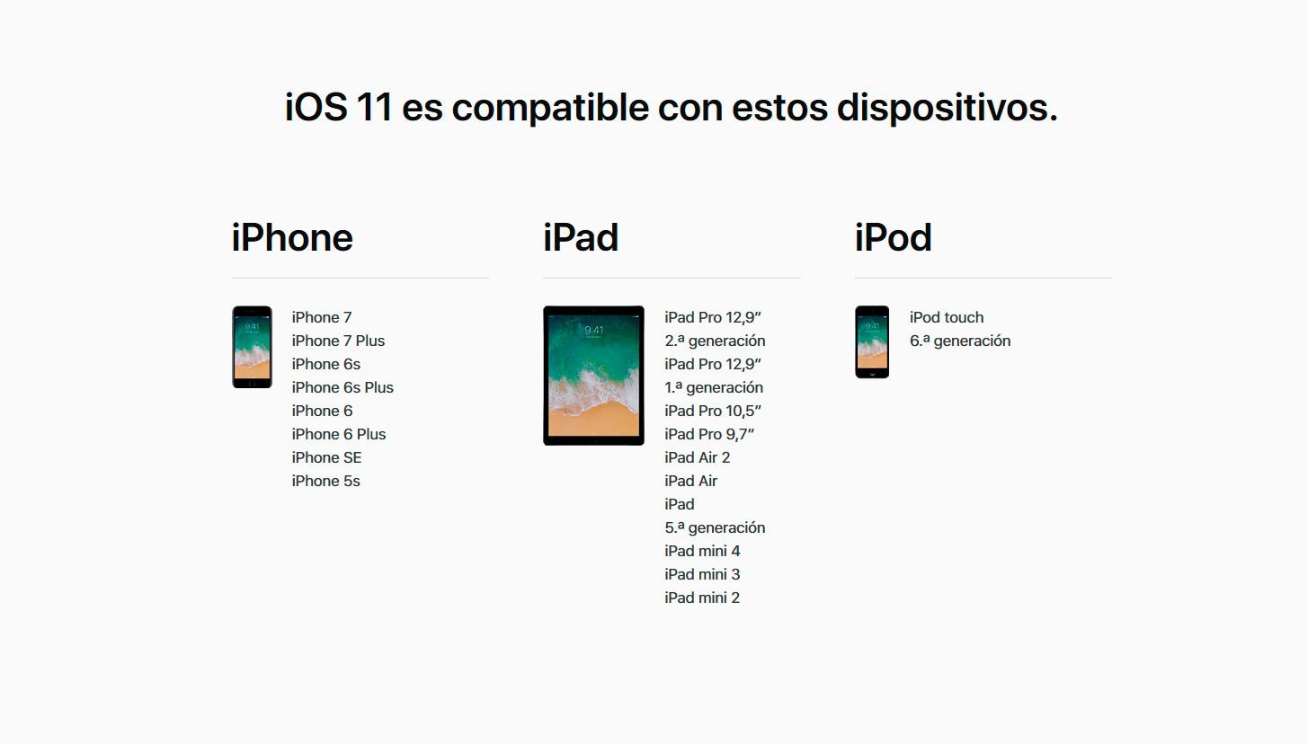 Estos son los iPhone, iPad e iPod compatibles con iOS 11 1