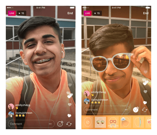 Instagram añade las mascaras a los videos en directo