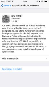 iOS 11.0.2 desde iOS 10.3.3