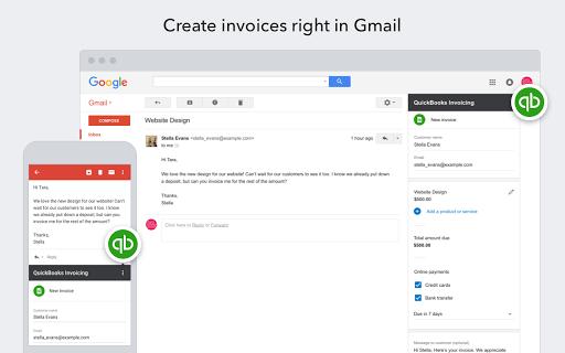 QuickBooks Invoicing Complementos Gmail