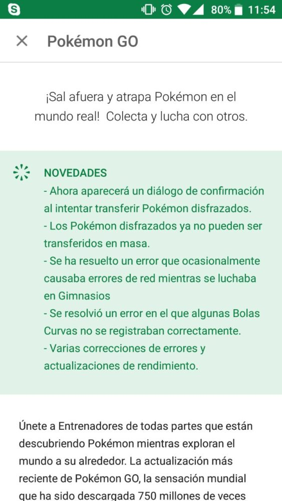 Pokémon Go se actualiza con mejoras y solución de problemas