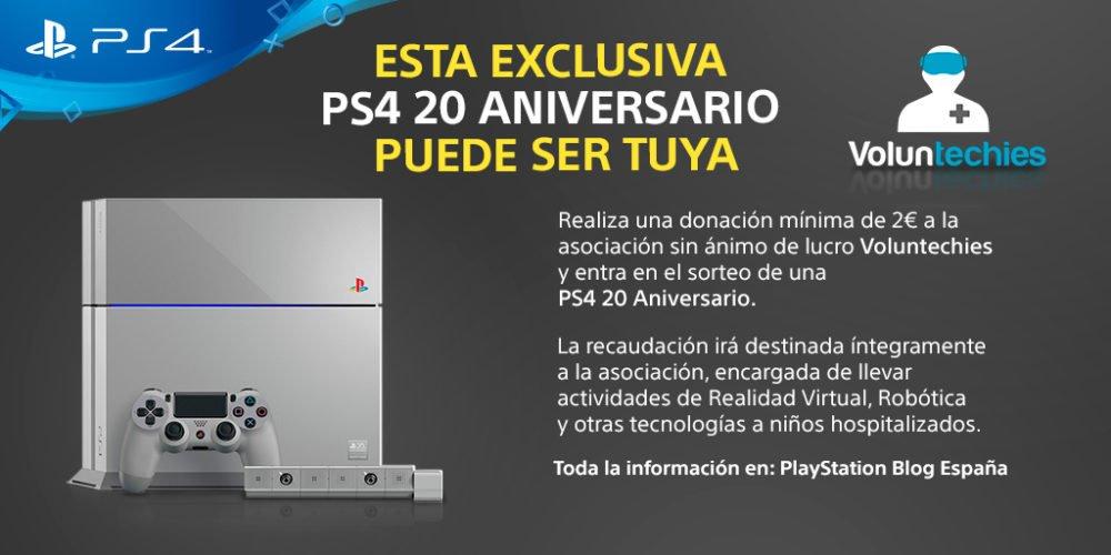 Consigue una Playstation 4 Edición 20 Aniversario siendo solidario con 2€ 1