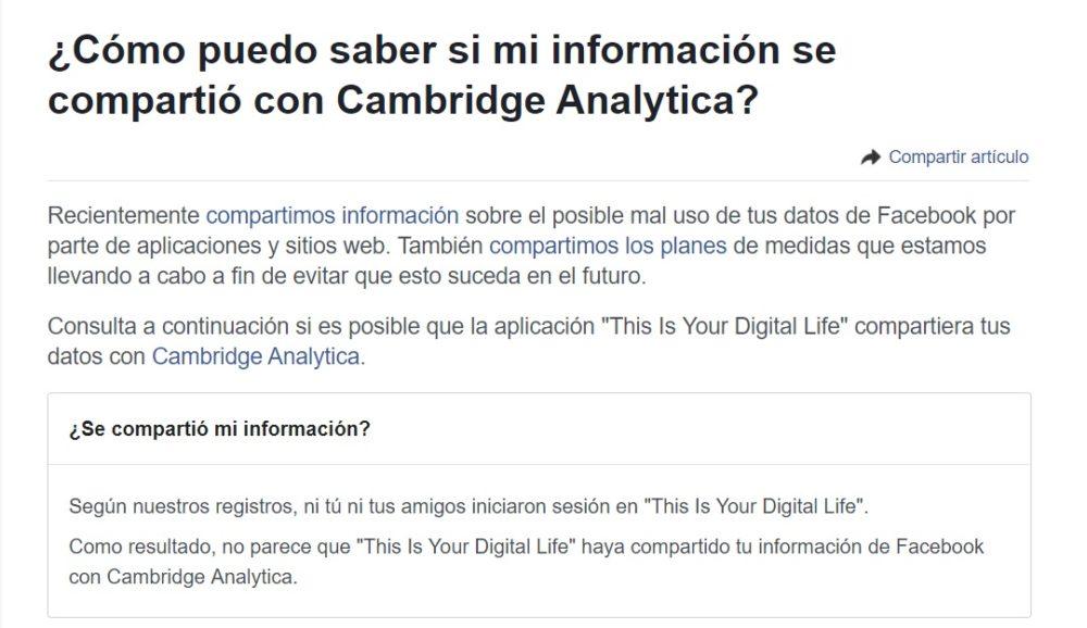 ¿Como saber si estas afectado por el mal uso de tus datos de Facebook por Cambridge Analytica?