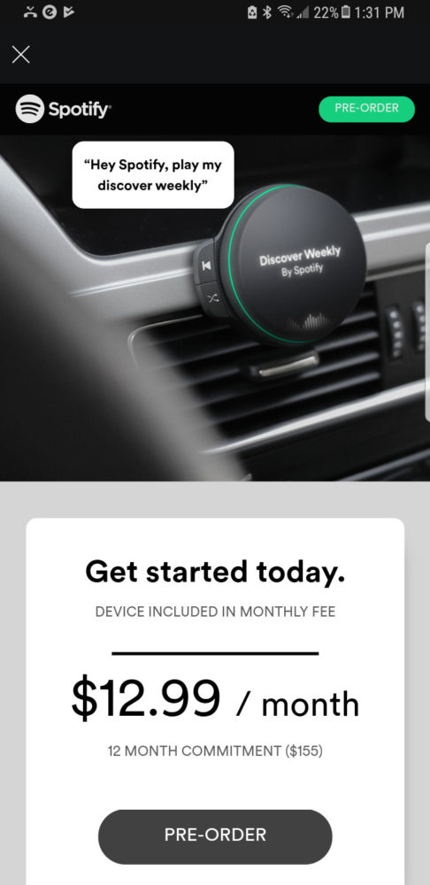 Spotify suscripción con dispositivo