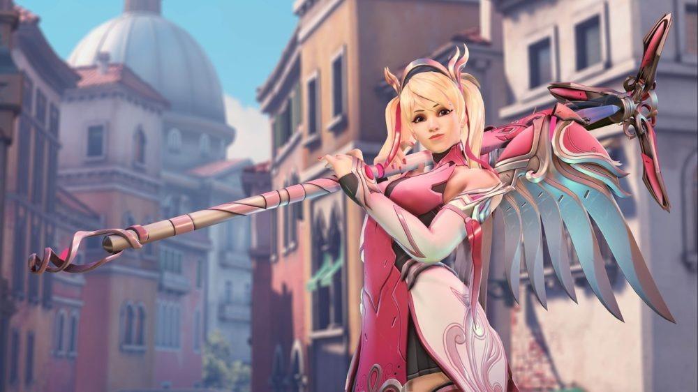 Overwatch colabora con la lucha contra el cancer de mama con Mercy rosa