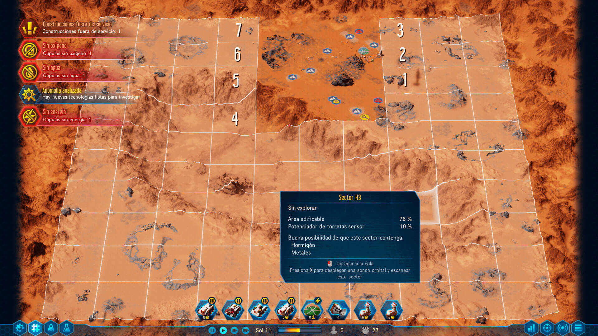 Escaneando los sectores en Surviving Mars