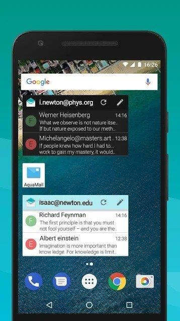 Widget de Aqua Mail para Android