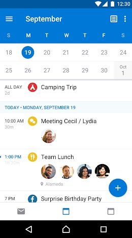 Microsoft Outlook en Android para administrar el calendario