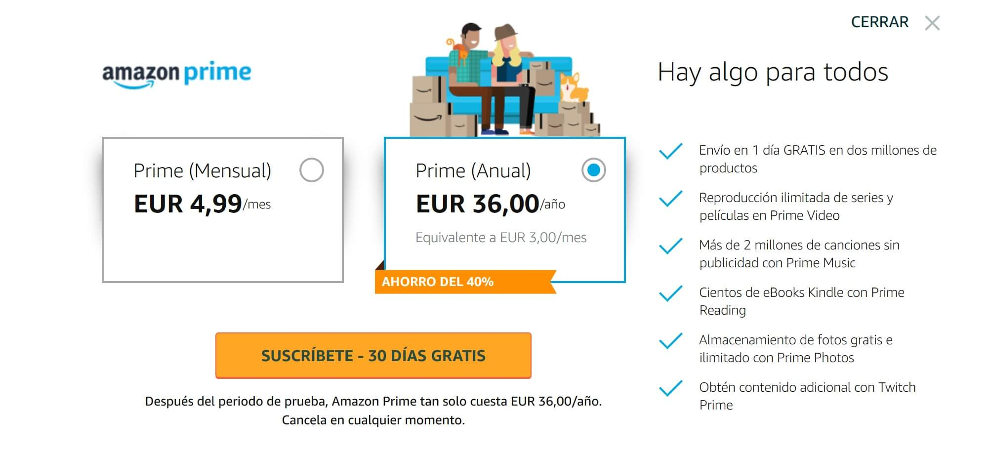 amazon prime tarifa españa