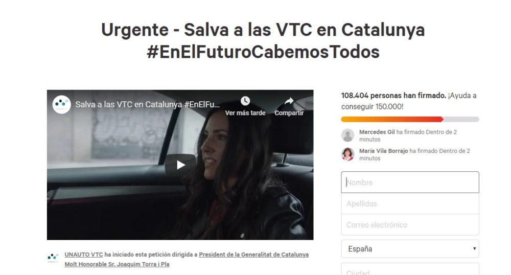 Las VTC logran 100.000 firmas contra el acuerdo entre Generalitat y los Taxistas 1
