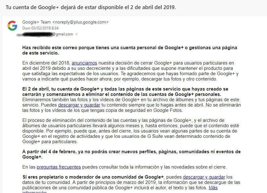 Google Plus cierre