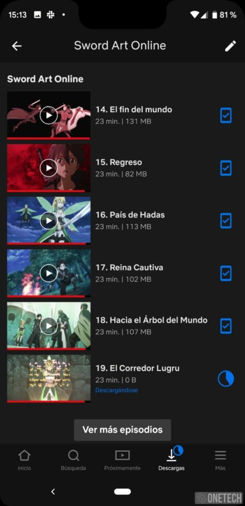 Autodescargas de Netflix