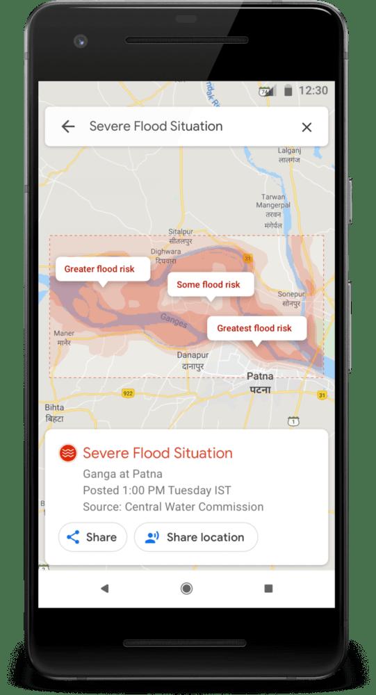 Google Maps aviso de desastres naturales - inundaciones