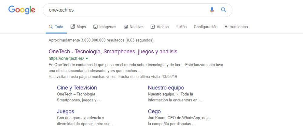 La búsqueda de Google añade iconos a las categorías