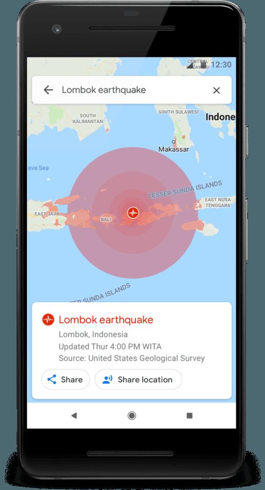 Google Maps aviso de desastres naturales - terremotos