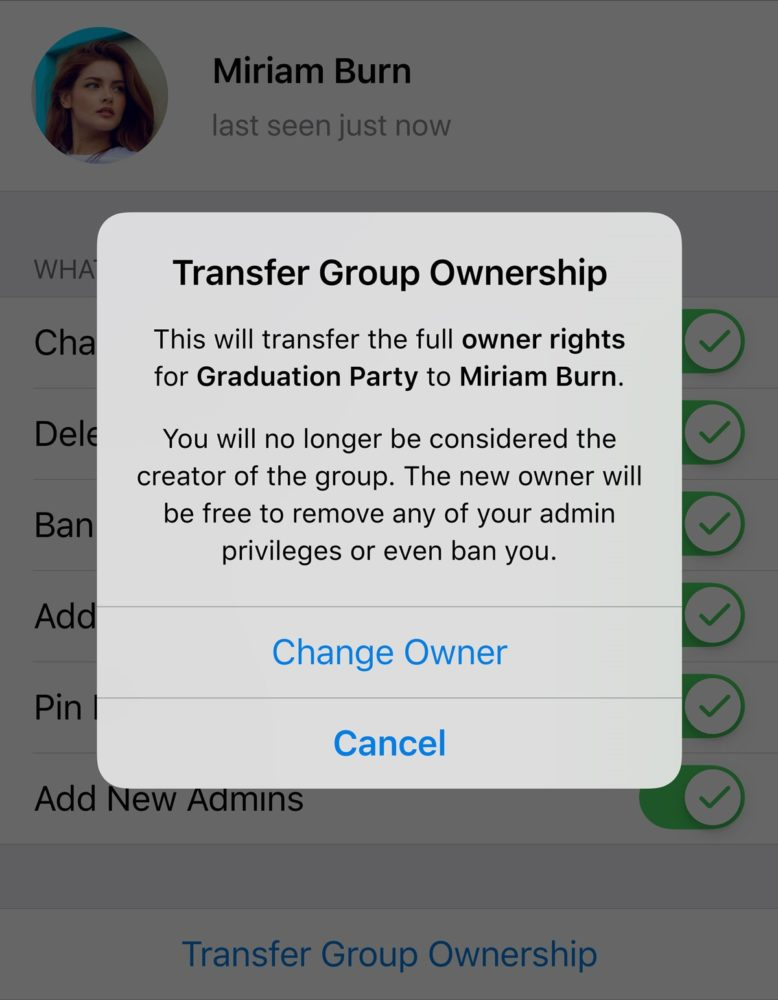 transferir grupo