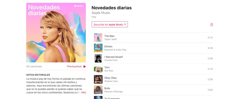 Apple Music lanza la nueva playlist 'Novedades diarias' 1