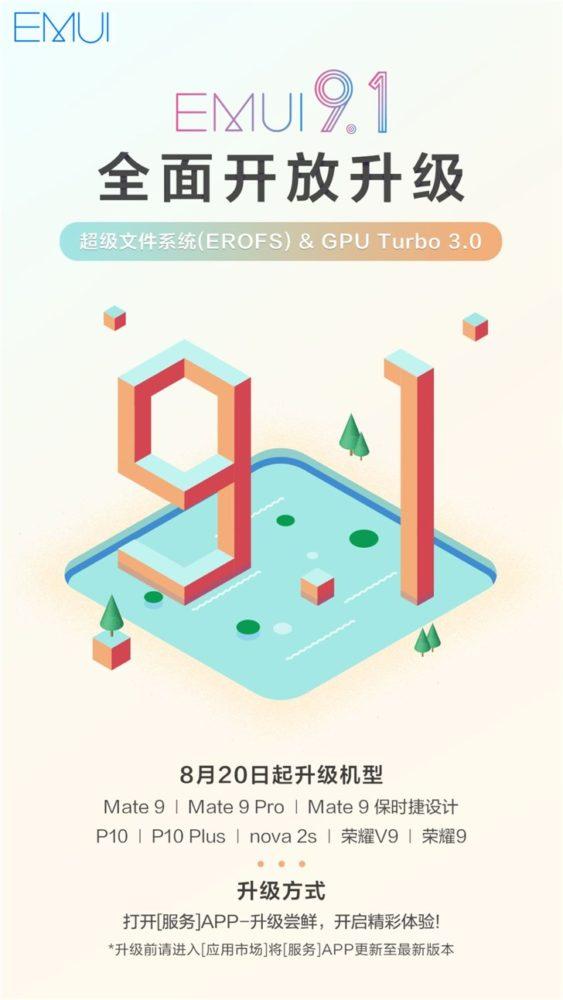 EMUI 9.1 llegará a ocho modelos más de Huawei 1