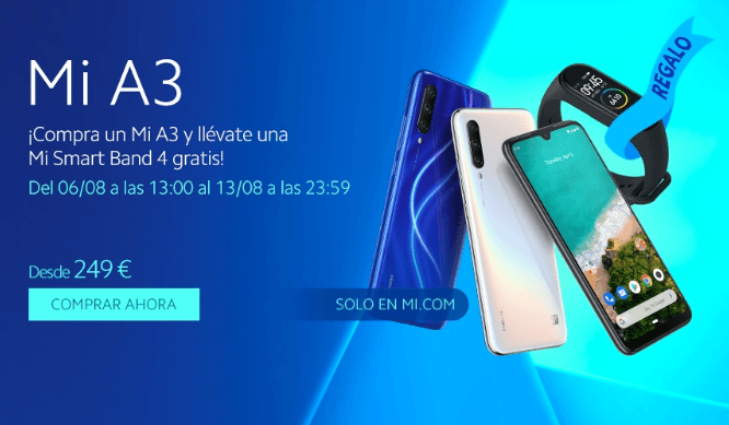 Xiaomi te regala una Band 4 con la compra del Mi A3