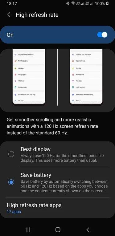 El Samsung Galaxy S20 vendrá con pantallas a 120 Hz