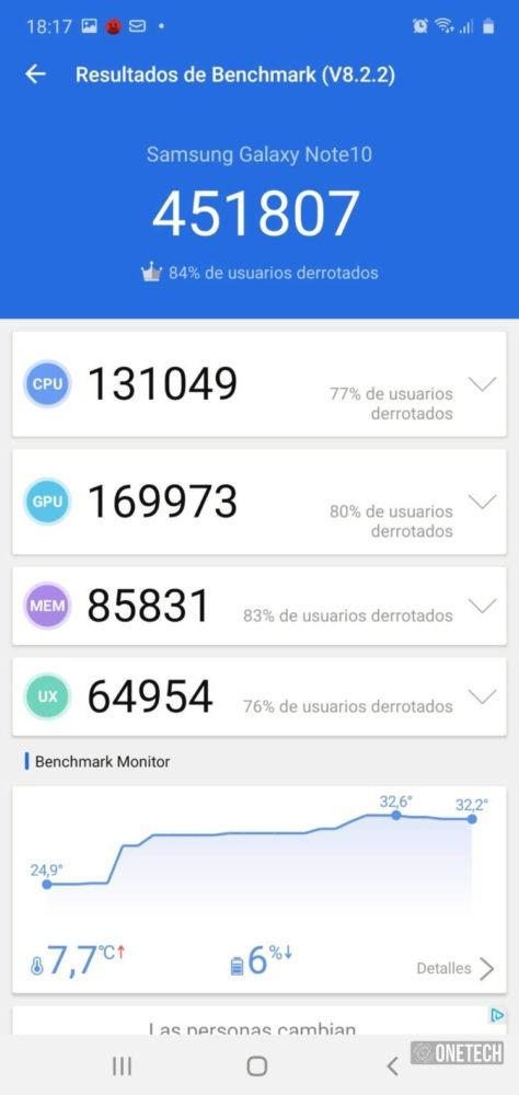 Antutu Galaxy Note 10 - 451807 puntos