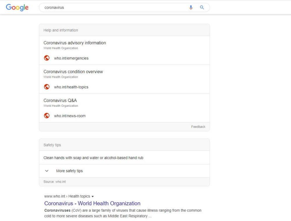 Coronavirus de Wuhan. Google lanza su sistema de alerta SOS, mientras Twitter y Facebook buscan ofrecer información de confianza 1