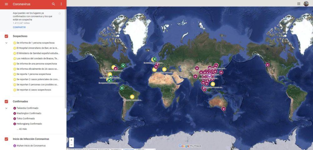 Google Maps muestra un mapa interactivo para seguir el avance del Coronavirus de Wuhan