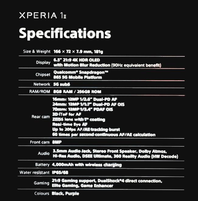 Sony Xperia 1 II especificaciones