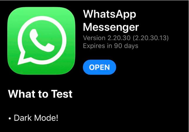 Whatsapp para iOS recibe el modo oscuro en su beta