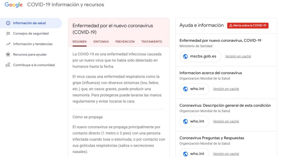 Google presenta una web donde tener toda la información sobre el Coronavirus 2