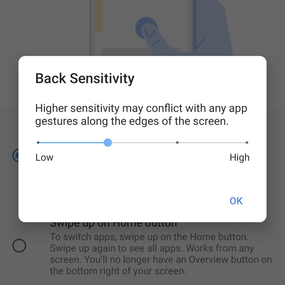 Android 11, Sensibilidad atrás