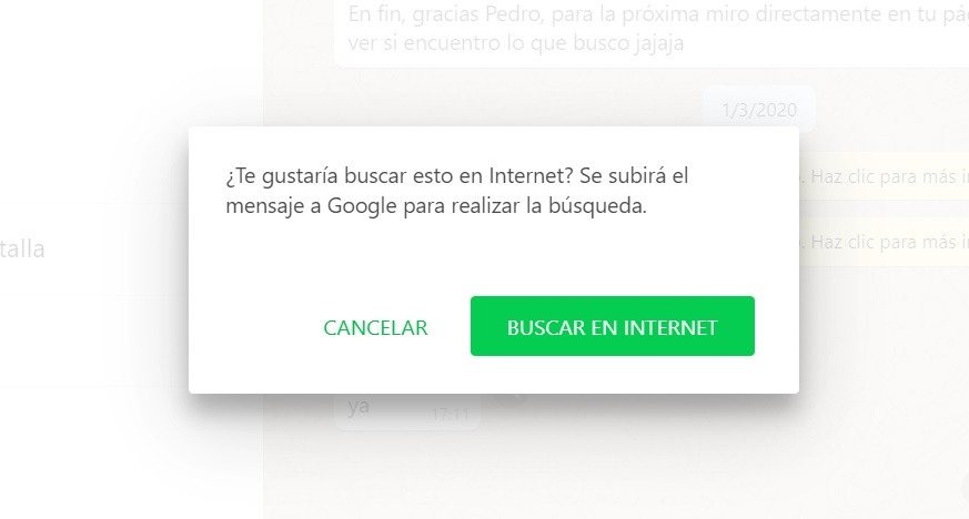 WhatsApp Web ya permite búsqueda en la web 2