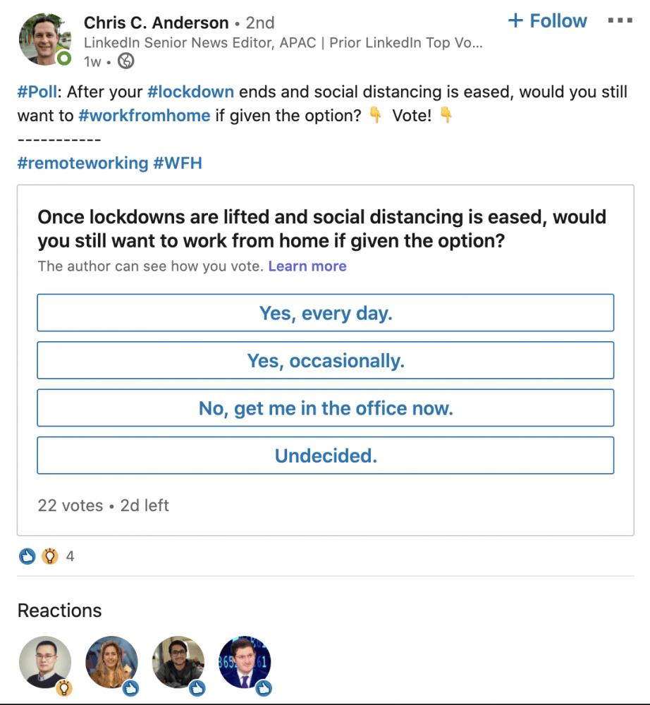 LinkedIn añade una nueva herramienta para crear encuestas