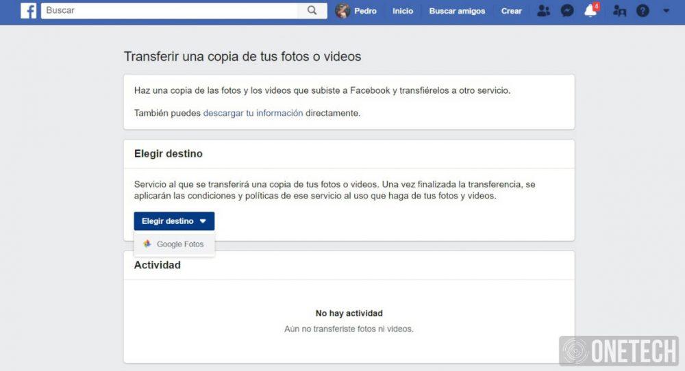 Transferir Fotos y Videos de Facebook a Google Fotos