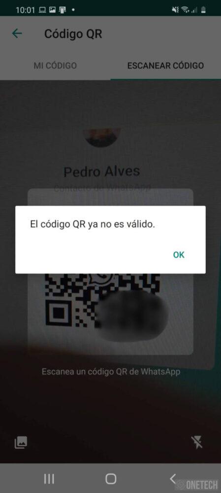 Código QR no valido en Whatsapp