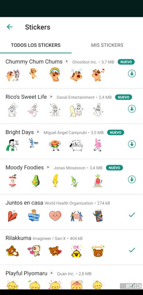 WhatsApp añade nuevos paquetes de pegatinas animadas 1