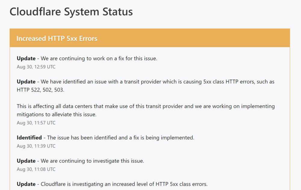 Problemas con Cloudfare deja caídas a decenas de webs y servicios