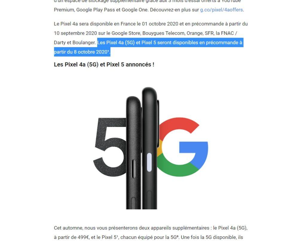 Google Francia revela la fecha de lanzamiento del Pixel 5 y del Pixel 4a 5G