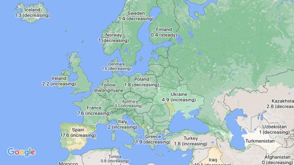 capa Covid-19 de Google Maps