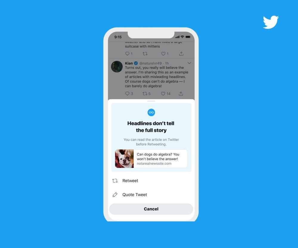 Twitter te pedirá que leas un artículo antes de compartirlo