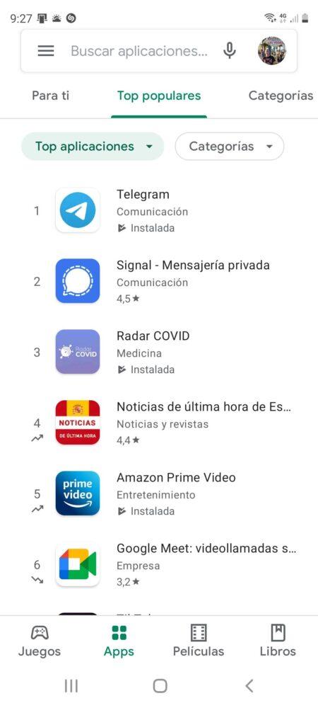 Google Play ahora te dice que aplicaciones y juegos suben o bajan en sus listas