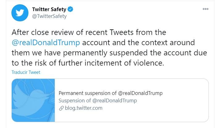 Twitter suspende definitivamente la cuenta de Donald Trump