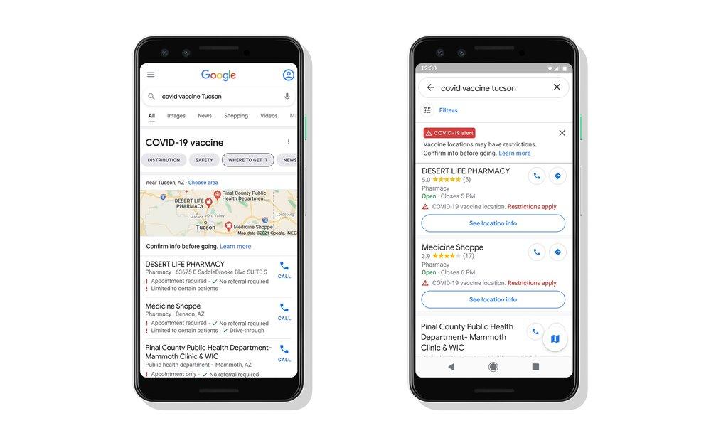 Google Search y Maps mostrarán los lugares de vacunación contra el COVID-19 1