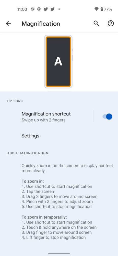 Android 12 permite ampliar solo una zona de la pantalla 1