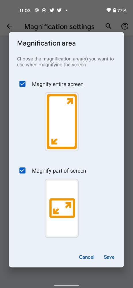 Android 12 permite ampliar solo una zona de la pantalla 2