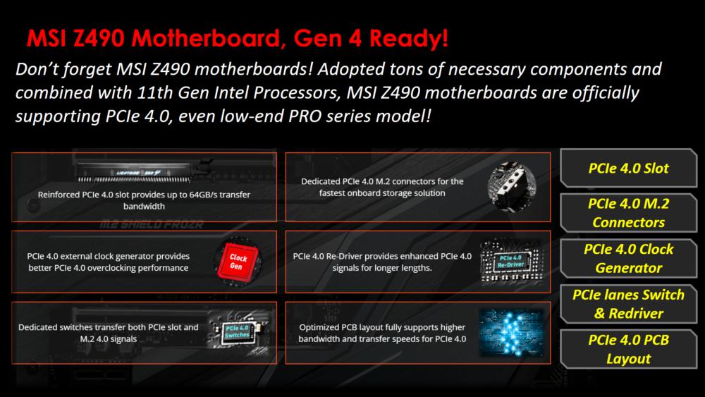 MSI actualiza sus placas base Z490 haciéndolas compatibles con PCIe 4.0 2